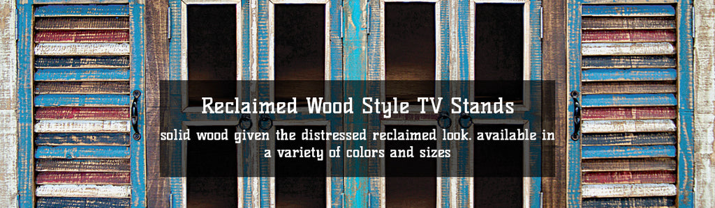 Reclaimed Distressed Painted Wood TV Stands