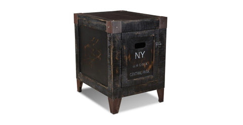 rustic black painted wood with industrial metal accents and stenciled text from major cities in the United States including New York City and Los Angeles