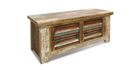 La Boca Collection is distressed and brightly painted reclaimed wood furniture for the living room, dining room, and bedroom.