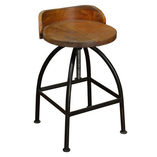 Ashland Low-Back Adjustable Height Bar Stool - Crafters and Weavers