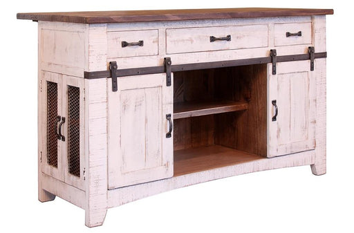 Greenview Kitchen Island - Distressed White - Crafters and Weavers