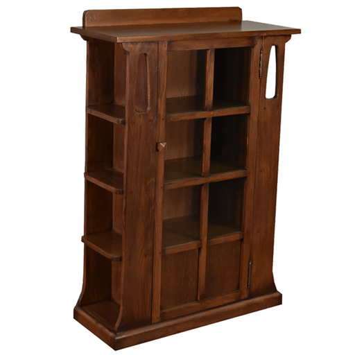 PREORDER Mission 1 Door Bookcase with Side Shelves - Dark - Crafters and Weavers