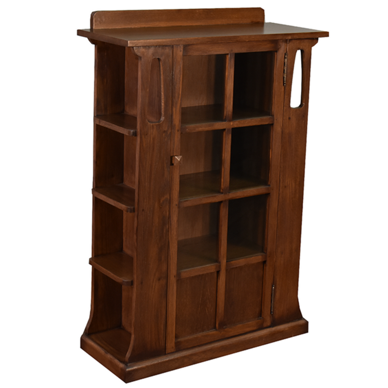 Mission 1 Door Bookcase with Side Shelves - Dark