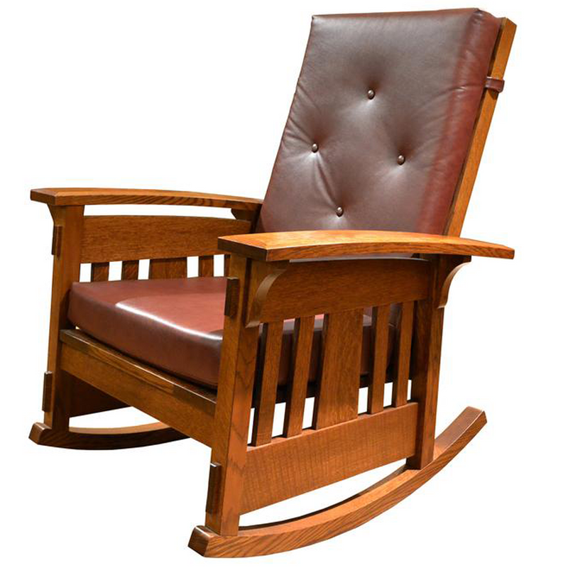 Custom Amish Made Arts and Crafts Quarter Sawn Oak Rocking Chair - Leather