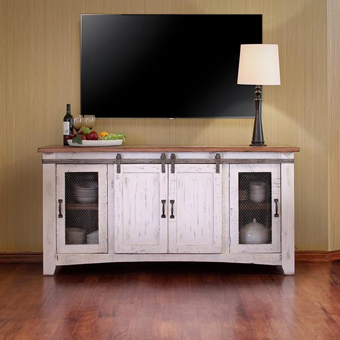 Greenview Sliding Door Distressed White TV Stand - 70 inch