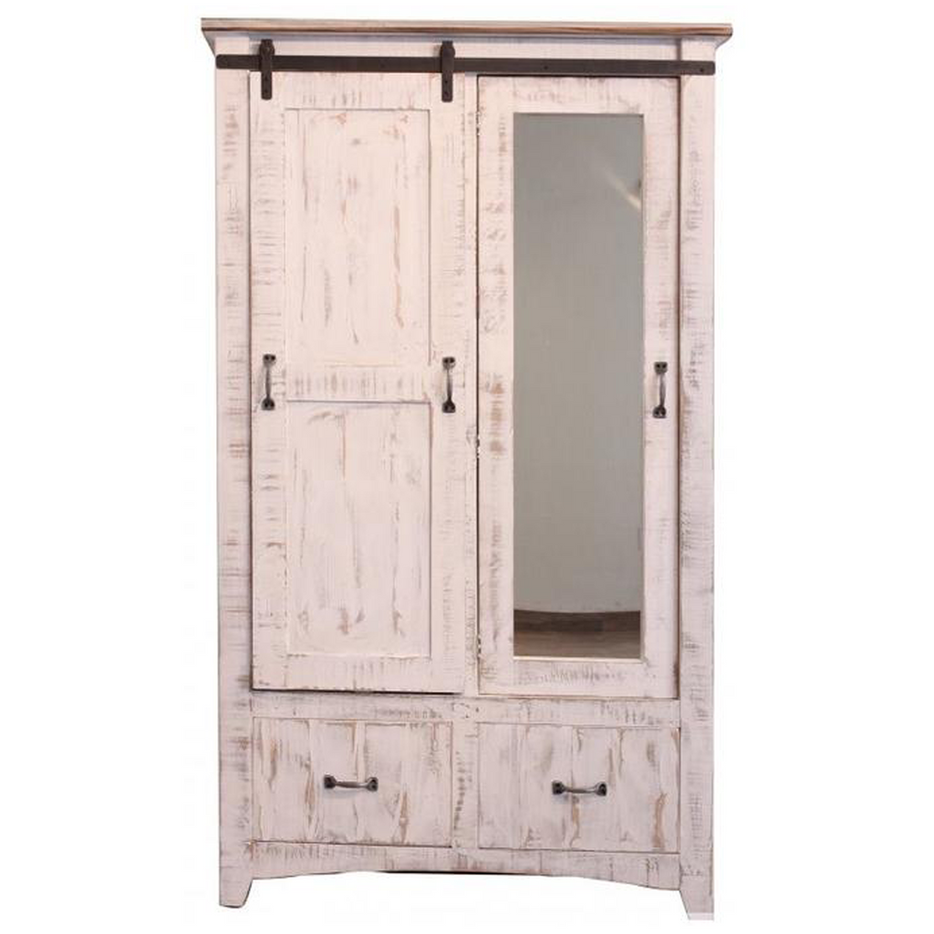 Greenview Wardrobe Armoire - Distressed White