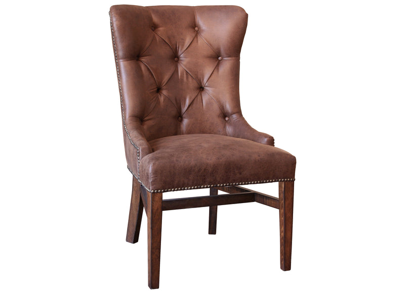 Granville Parota Brown Rustic Style Solid Wood Arm Chair with Linen Look Seat