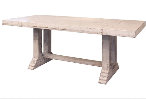 "GREENVIEW 79"" PEDESTAL DINING TABLE - DISTRESSED WHITE"