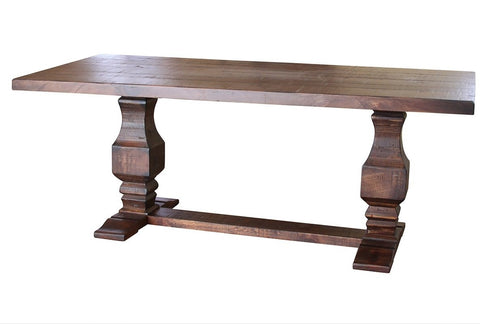 "Greenview 79"" Double Pedestal Dining Table - Rustic Brown"