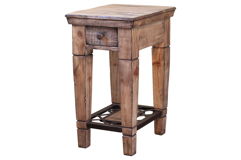 Greenview Bleached Side Table - Wrought Iron Base