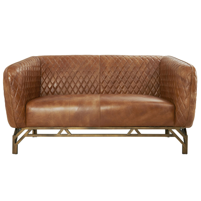 Vincent Industrial Modern Love Seat - Light Brown Leather