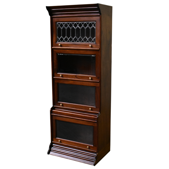 Mahogany Wood 4 Stack & 5 Stack Barrister Bookcases with Leaded Glass - Crafters and Weavers