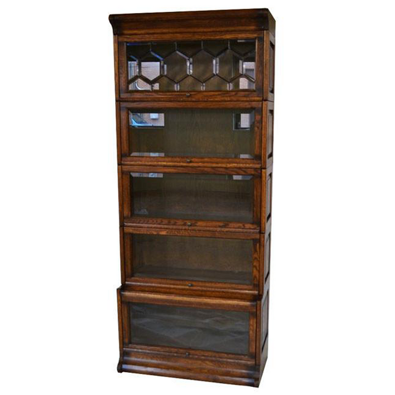 Mission Style Oak Barrister Bookcase 5 Stack High with Leaded Glass