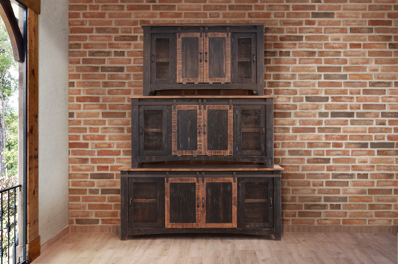Greenview Sliding Door Distressed Black Tv Stand 80 Inch
