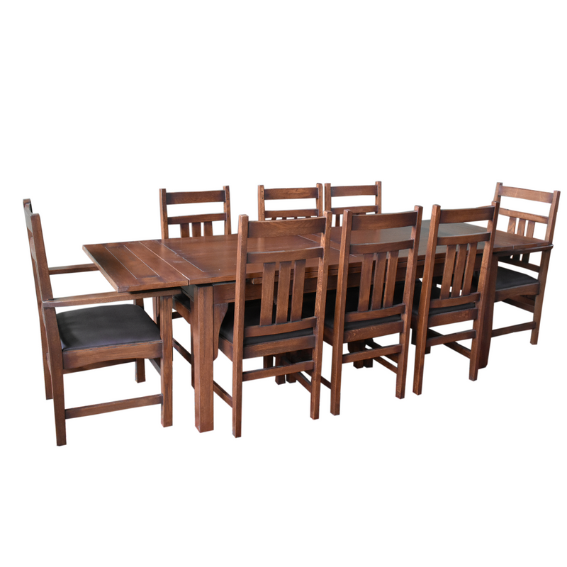 Mission Stow Leaf Table with #401 Chair Dining Set - Dark Oak