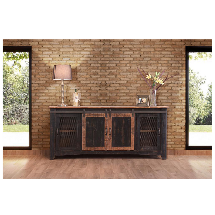 Greenview Sliding Door Distressed Black TV Stand - 80 inch