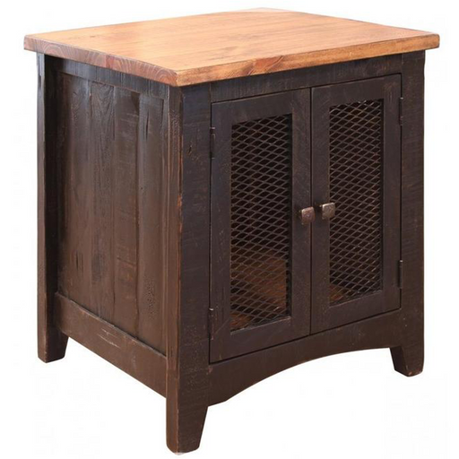 Greenview Two Door End Table - Distressed Black - Crafters and Weavers