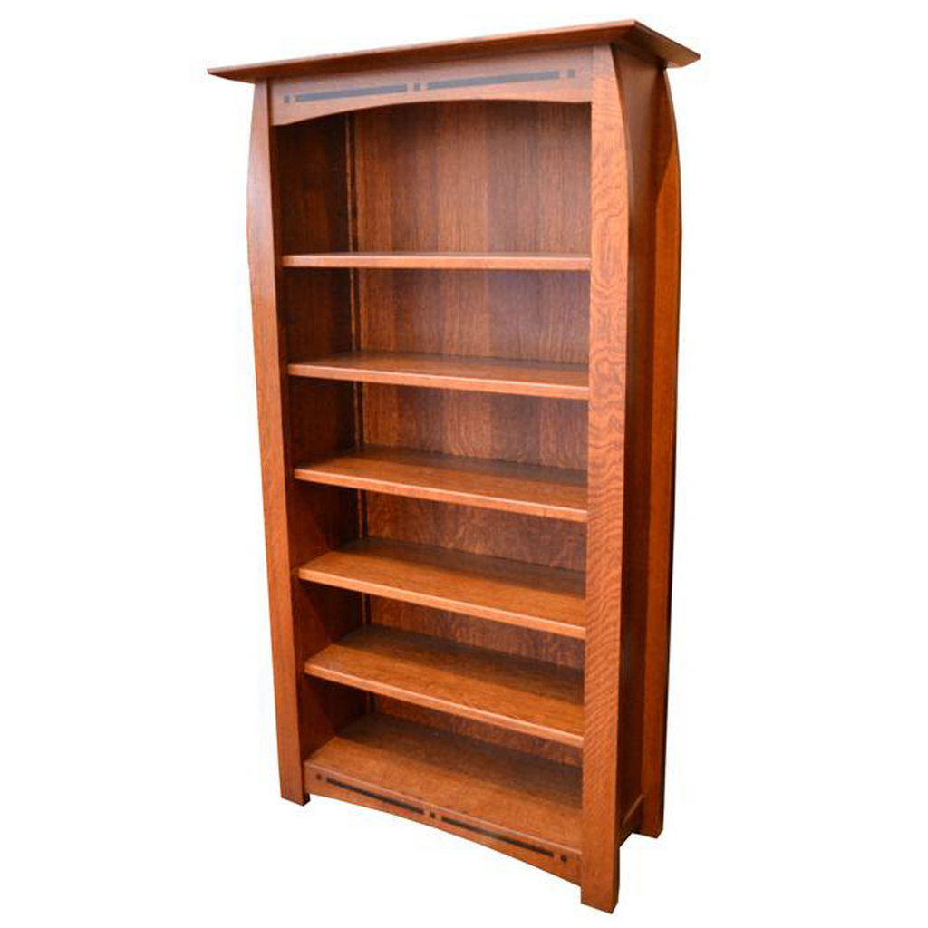 Amish Made Quarter Sawn Oak Bookcase with Inlay