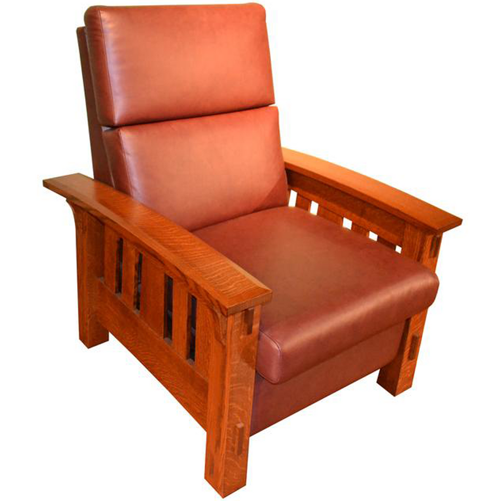 Custom Amish Quarter Sawn White Oak & Leather Recliner