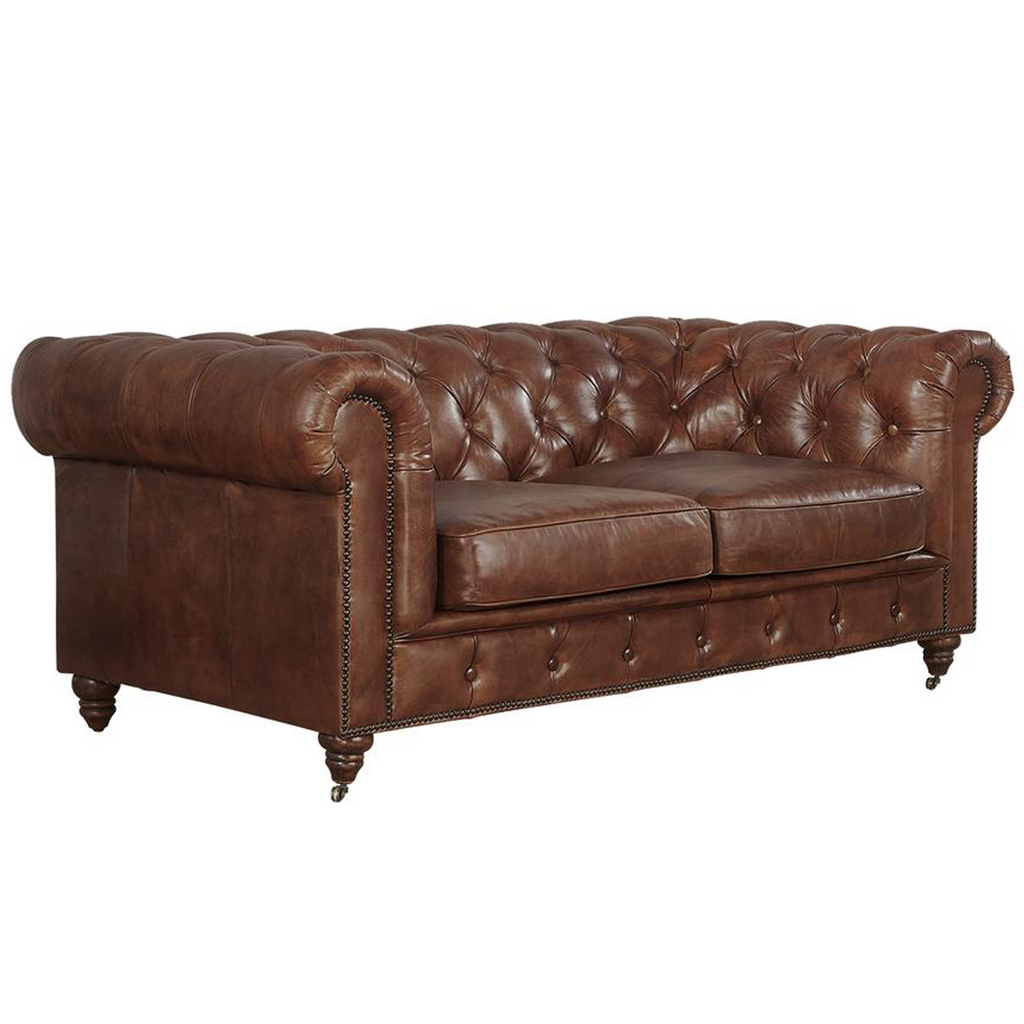 LAST ONE! Century Chesterfield Love Seat - Medium Brown Leather