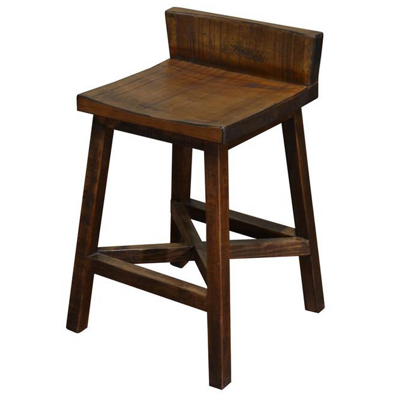 "Granville Stationary Bar Stool - Rustic Brown - 24"" High"