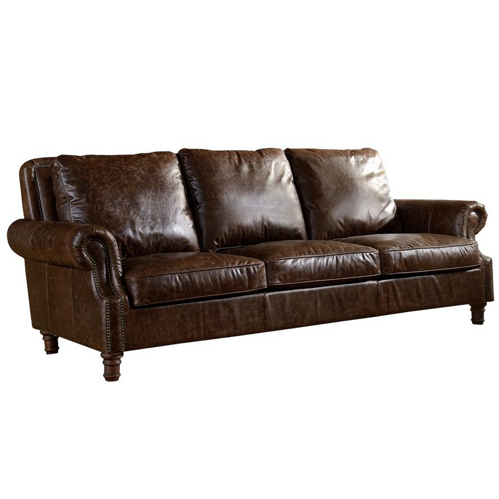 English Rolled Arm Sofa - Dark Brown Leather