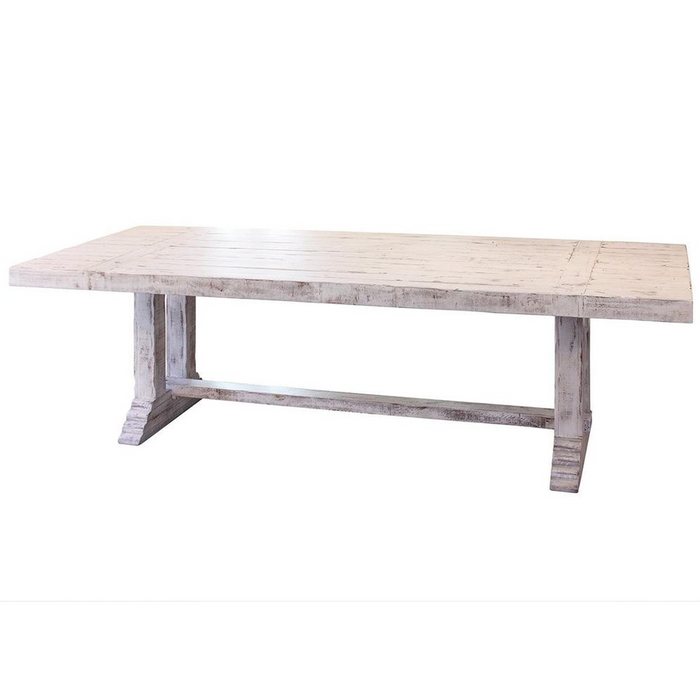"GREENVIEW 102"" PEDESTAL DINING TABLE - DISTRESSED WHITE"