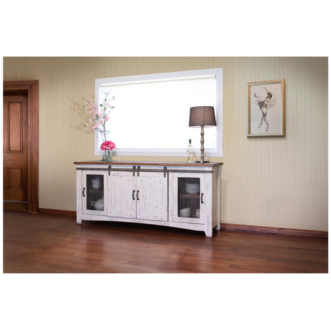 Farmhouse Style Industrial Chic White Wood Sliding Barn Door Tv Stand
