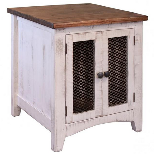 Greenview Two Door End Table - Distressed White - Crafters and Weavers