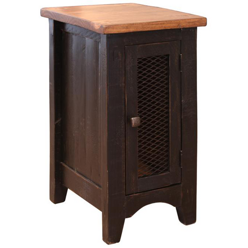 Greenview One Door Side Table - Distressed Black - Crafters and Weavers