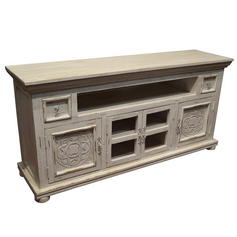 Keystone Carved 65 inch TV Stand - White