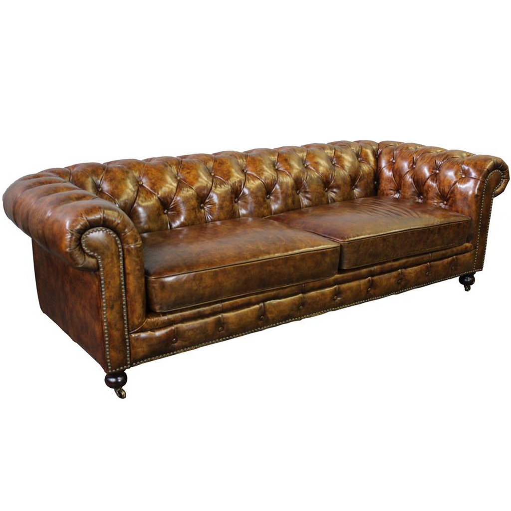 Larson Chesterfield Sofa - Dark Brown Leather