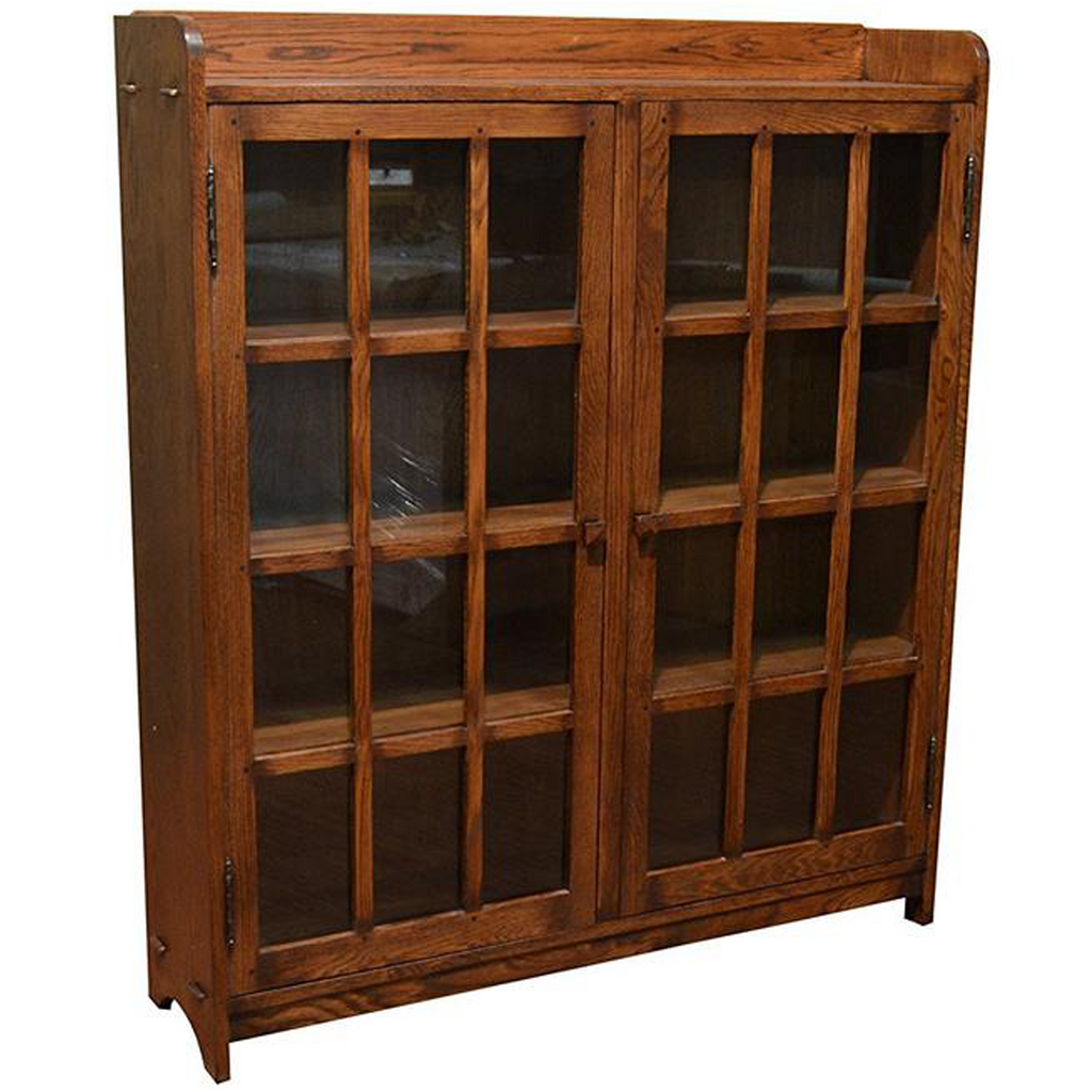 Mission Oak 2 Door Bookcase with Glass Doors - Walnut