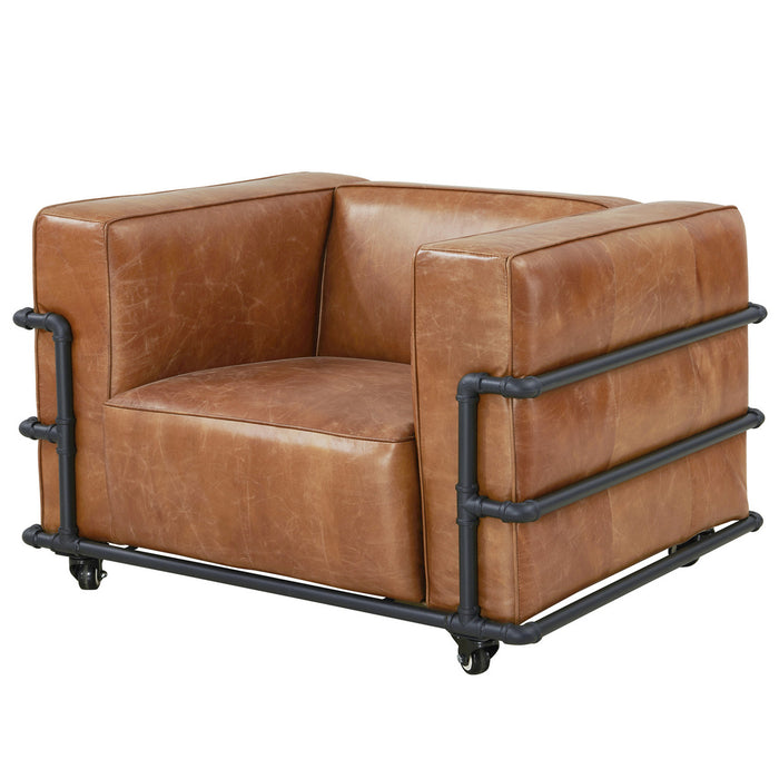 Henry Industrial Modern Leather Arm Chair (2 Colors Available)