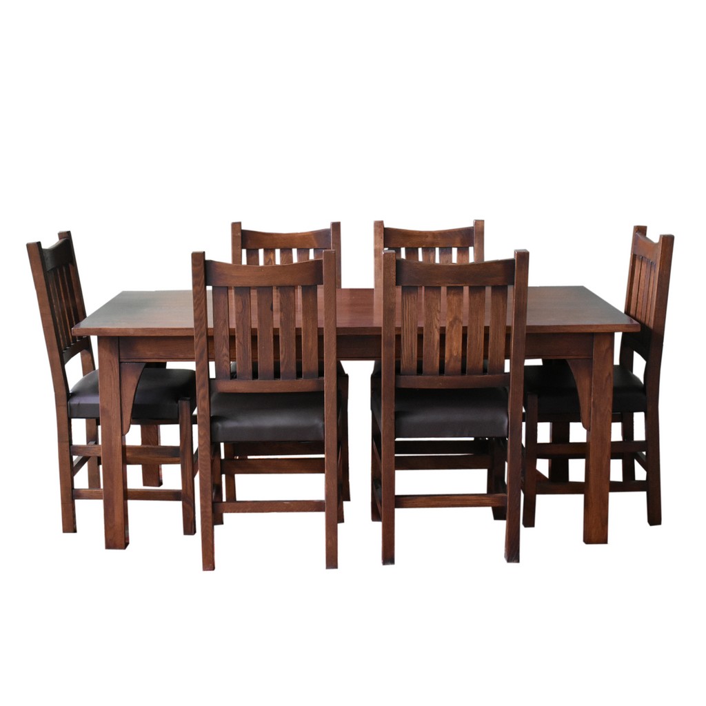 "Mission 70"" Solid Oak Dining Table Set with 6 #240 Chairs"