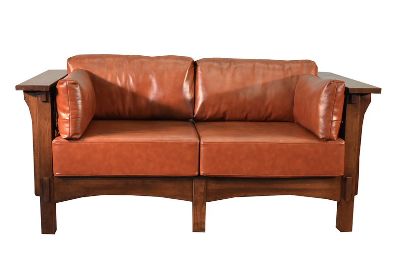 Crofter Style Love Seat - Russet Leather