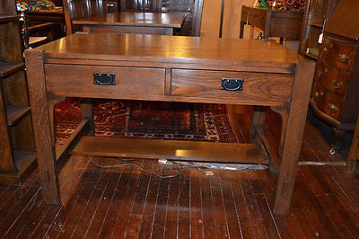Mission Oak Library Table with 2 Drawers - Crafters & Weavers - 1