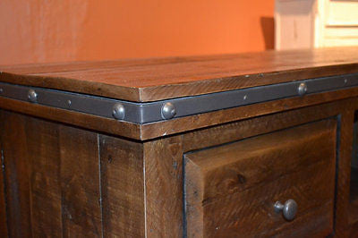 Rustic Distressed Reclaimed Solid Wood Credenza Tv Stand