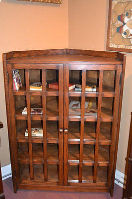 Arts and Crafts Mission Solid Oak Corner Bookcase Cabinet - Crafters & Weavers - 1