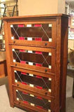 Arts and Crafts Mission Quarter Sawn White Oak Barrister Bookcase Leaded Glass - Crafters & Weavers - 2