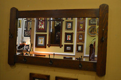 Arts and Crafts Mission Oak Bevelled Mirror with coat / hat hangers - Crafters & Weavers - 1