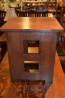 Solid Oak Mission End Table With Cut Outs