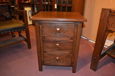 Mission 3 Drawer Oak End Table - Crafters & Weavers - 1