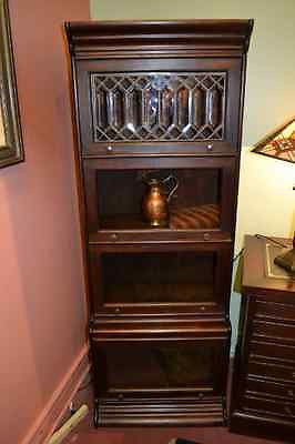 Mahogany 4 Stack 24 inch Wide Barrister Bookcase with Leaded glass - Dark Stain - Crafters & Weavers - 1