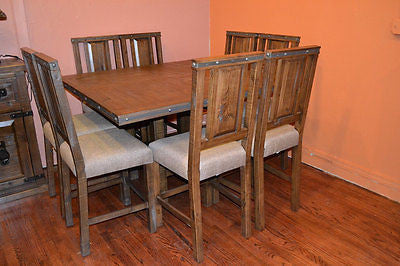 Rustic Reclaimed Solid Wood Dining Table or Kitchen Table and set of 8 chairs - Crafters & Weavers - 1