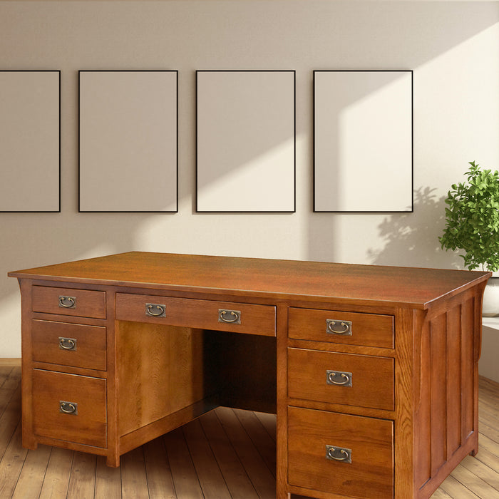 Mission Library Desk with File Cabinet Drawers - Michael's Cherry (MC-A)
