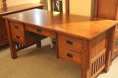 Arts and Crafts Quarter Sawn White Oak Mission Library Table Desk Prairie style - Crafters & Weavers - 1