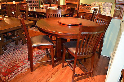 Rustic Distressed Reclaimed Solid Wood Round Dining Table and set of 4 Dining Ch - Crafters & Weavers - 1