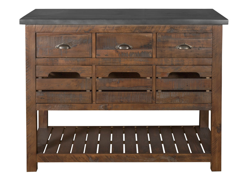 Barlow Crate Kitchen Island - Rustic Brown