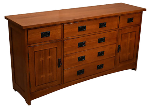 Arts & Crafts / Mission Style Sideboard with 6 Drawers - Golden Brown